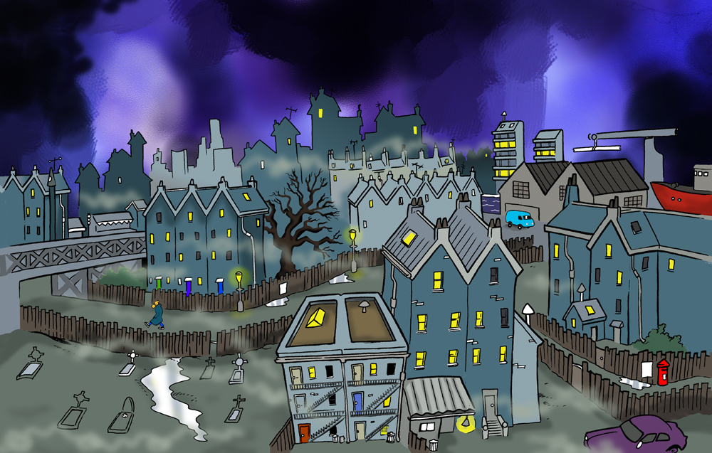cartoon cityscape